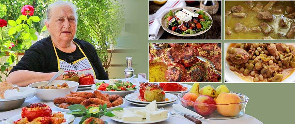 Autentyczne domowe tradycyjne kreteńskie jedzenie przygotowane przez panią Marię w Patsos Rethymno – wszystko organiczne!